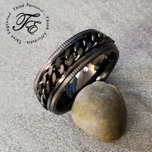 Men's Black Spinner Ring - Promise Wedding Band